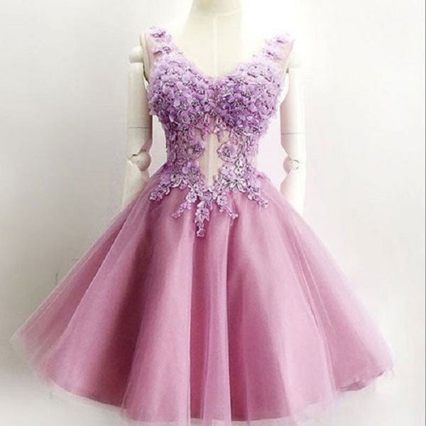 Charming V-neck Lilac Tulle with Flowers Appliqued Princess Homecoming Dresses,apd1771 - Solodresses