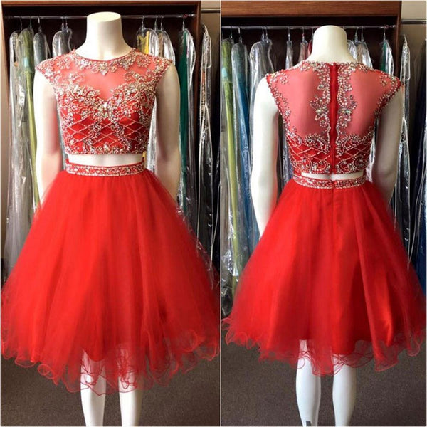 Two Pieces Red Short Prom Dresses Beaded Bodice Homecoming Dresses,Hot 73 - Solodresses