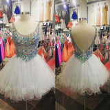 Scoop Neck White Tulle Skirt Rhinestone Beaded Bodice Homecoming Dresses,Hot 74 - Solodresses