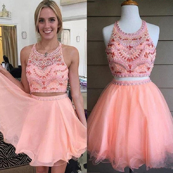 Sweet Two Pieces Blush Pink Tulle with Beaded Bodice Homecoming Dresses,Hot 75 - Solodresses