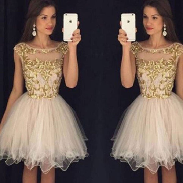 5602793c400 Luxury A-line Cap Sleeves Gold Embroidery Nude Tulle Homecoming Dresses
