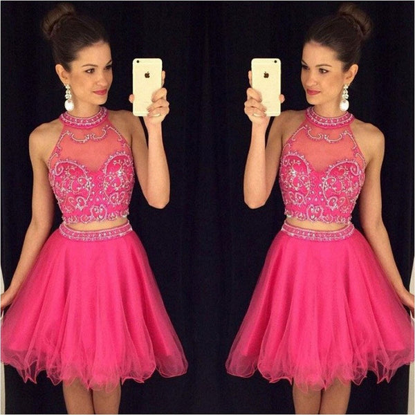 Excellent 2 Pieces High Neck Beaded Chiffon Fuchsia Tulle Short Prom Dresses Homecoming Dresses,Hot 78 - Solodresses