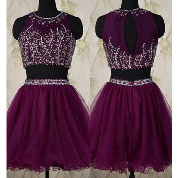 Shinging 2 Pieces A-line O-neck Sleeveless Beaded Purple Tulle Homecoming Dresses,Short Prom Dresses,Hot 79 - Solodresses
