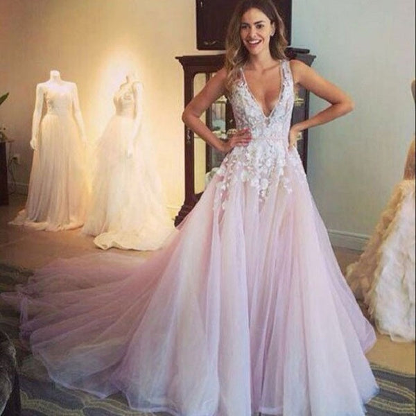 A-line V-neck Sleeveless Flower Appliqued Light Pink Chapel Train Tulle Wedding Dress - Solodresses