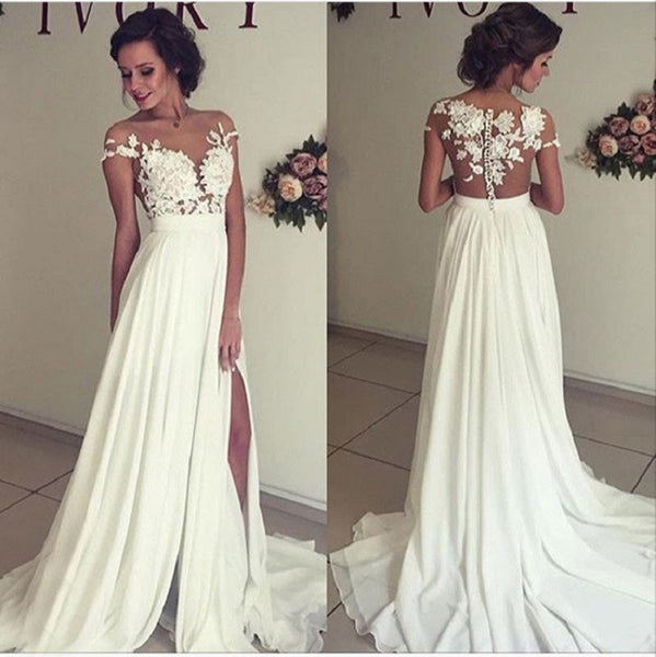 A-line Off the Shoulder See-through Sleeveless Beaded Lace Appliqued Bodice Mini length Beach Wedding Dress - Solodresses