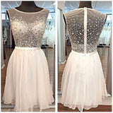 See-through Bodice Bateau Beaded Ivory Chiffon Homecoming Dresses,Hot 88 - Solodresses