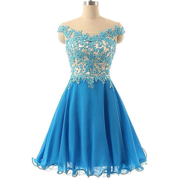A-line Lace Appliqued Blue Tulle Chiffon Homecoming Dresses,Hot 90 - Solodresses