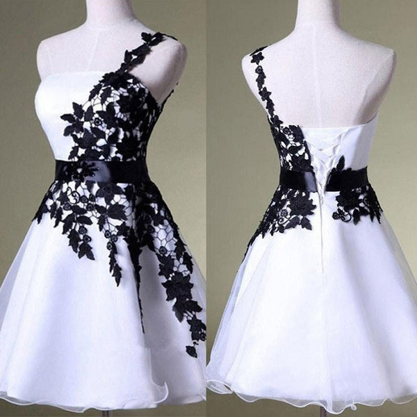 Unique A-line One Shoulder Black Lace & White Organza Homecoming Dresses,Hot 93 - Solodresses