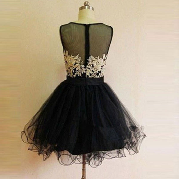 9989c44be34 Elegant Black Tulle with Ivory Lace Appliqued Satin Homecoming Dresses – Solo  Dresses