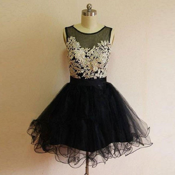 8d9d936ce69 Elegant Black Tulle with Ivory Lace Appliqued Satin Homecoming Dresses