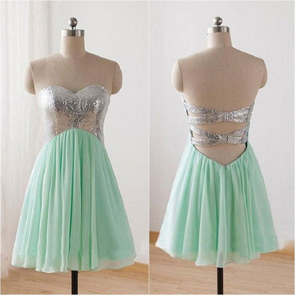 Sweetheart Mint Strapless Chiffon Homecoming Dresses,Hot 95 - Solodresses