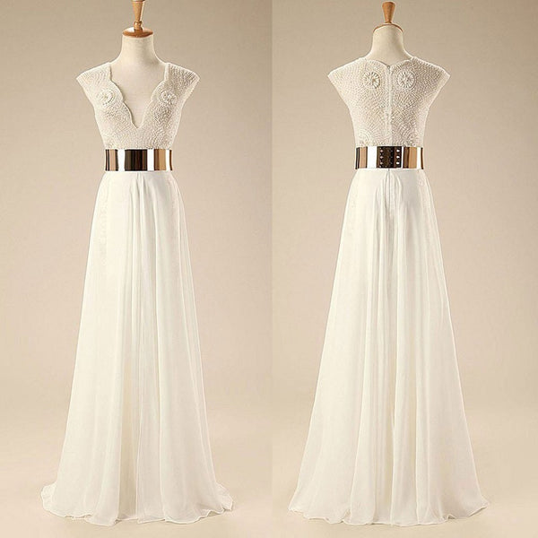 Graceful A-line V-neck Floor-length Beaded Chiffon Wedding Dress with Gold Sash,Hot 99 - Solodresses