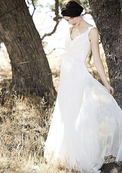 Simple A-line Sleeveless V-neck Chiffon Floor Length Ivory Beach Bridal Gown - Solodresses