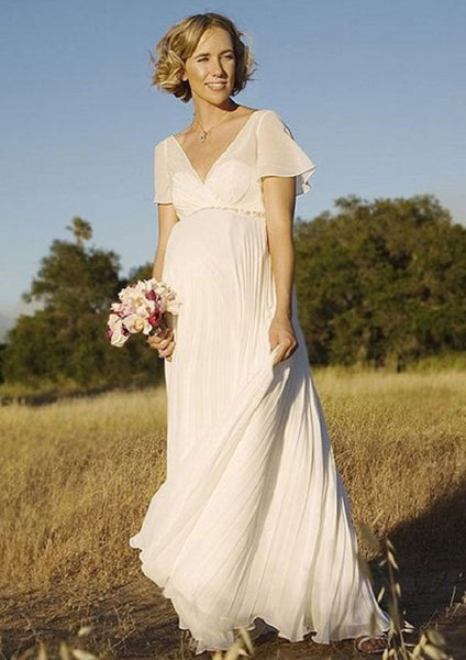 A-line V-neck Backless Short Sleeves Floor Length Chiffon Maternity Wedding Dress - Solodresses