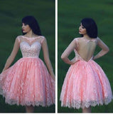 Sweetheart Pink Lace Backless Homecoming Dress,Hot 06 - Solodresses