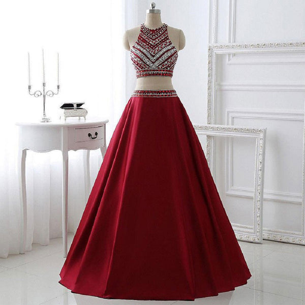 A-line Two Pieces Halter Sleeveless Floor-length Burgundy Satin Long Formal Dresses,Prom Dresses - Solodresses