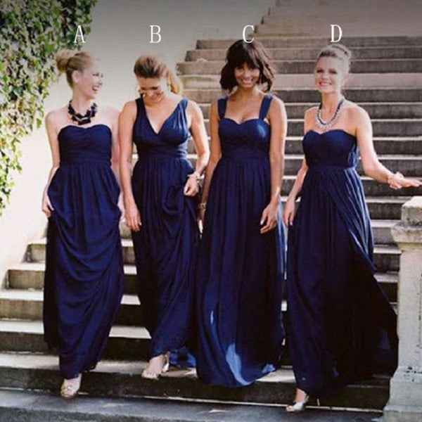 Mismatched Bridesmaid Dresses,Dark Royal Blue Jersey Long Bridesmaid Dresses - Solodresses
