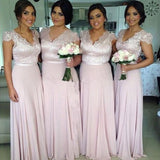 A-line Cap Sleeves Lace Bodice V-neck Floor Length Light Pink Long Bridesmaid Dresses ,Plus Size Bridesmaid Dresses - Solodresses