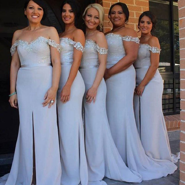 Mermaid Off the Shoulder Appliqued Sleeveless Sweep Train Grey Satin Bridesmaid Dresses - Solodresses