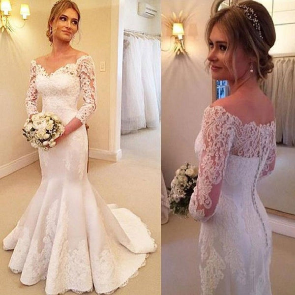 Mermaid Off the Shoulder 2/3 Sleeves Appliqued Beaded Lace Up Ivory Satin Wedding Dresses - Solodresses