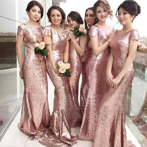 Mermaid Cowl Neck Sequins Lace Short Sleeves Sweep Train Rose Gold Wedding Party Bridesmaid Dresses - Solodresses