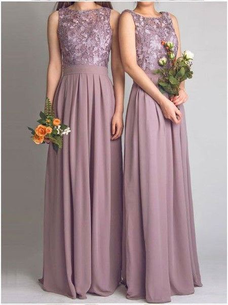 A-line Cowl Neck Sleeveless Lace Bodice Floor Length Cameo Chiffon Bridesmaid Dresses,Long Wedding Party Dresses - Solodresses