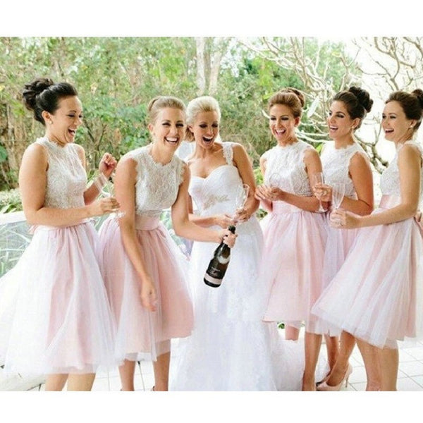 A-line Bow Embellished Sleeveless Ivory Lace Bodice Knee-length Pink Tulle Skirt Short Bridesmaid Dresses,Elegant Bridesmaid Gowns - Solodresses
