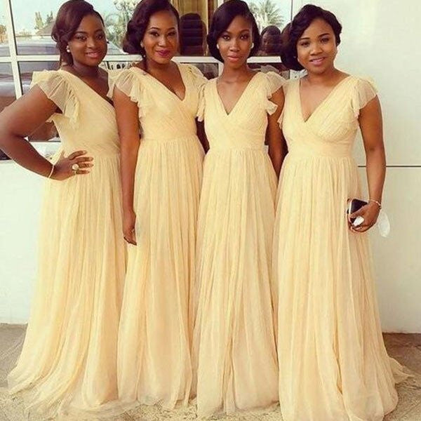 A-line V-neck Cap Sleeves Floor Length Yellow Chiffon Long Bridesmaid Dresses,Wedding Party Dresses - Solodresses