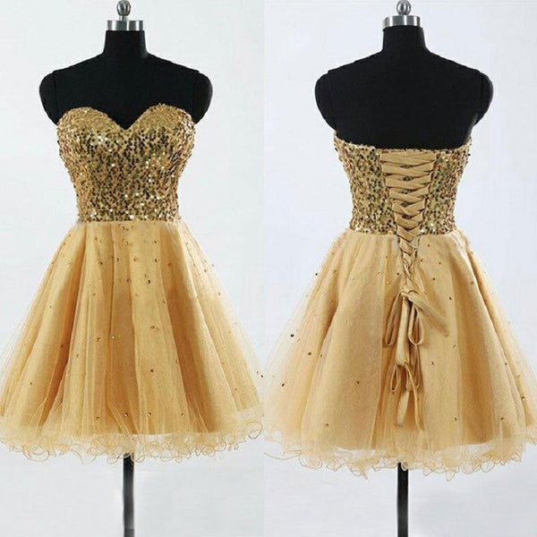 Strapless Gold Sequins Homecoming Dresses,Short Prom Dresses,Hot23 - Solodresses