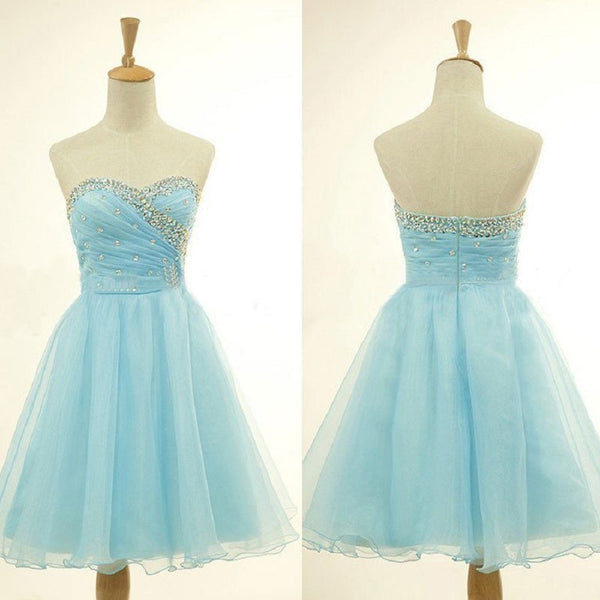 Graceful A-line Rhinestone Beaded Sweetheart Neck Strapless Blue Organza Homecoming Dresses Short Prom Dresses,Hot 26 - Solodresses
