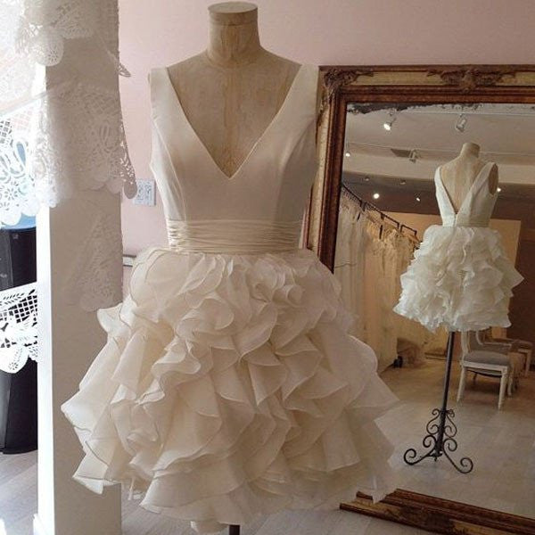 Cute A-line V-neck Ruffled Organza Little White Skirt,Simple Homecoming Dresses,Hot 29 - Solodresses