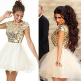 Brightly Shining Gold Sequins Cap Sleeves Lace Homecoming Dresses,Short Ball Gown,Hot 30 - Solodresses