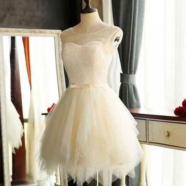 Cute Illusion Neck Mini Length Lace Bodice Little White Dresses,Short Wedding Dresses,Simple Homecoming Dresses - Solodresses