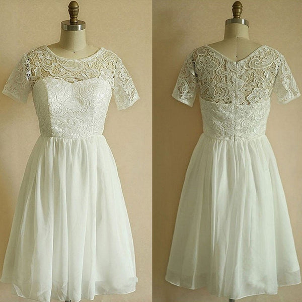 A-line Short Sleeves Cowl Neck Princess Lace Bodice White Chiffon Skirt Little White Dresses - Solodresses