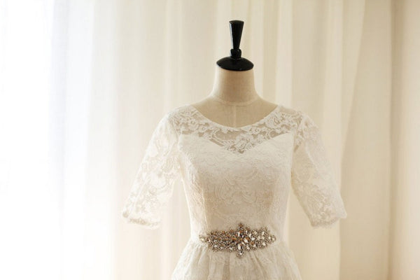 A-line Short Sleeves Cowl Neck Lace Beaded Short Wedding Dresses,Princess Little White Dresses - Solodresses