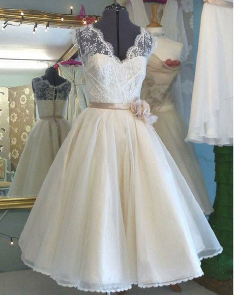 A-line V-neck Sleeveless T-length Princess Lace Bodice Organza Skirt,Short Ivory Wedding Dress - Solodresses