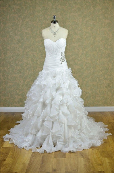 A-line Strapless Sweetheart Neck Beaded Ruched Lace Up White Organza Ruffle Skirt Bridal Dress - Solodresses