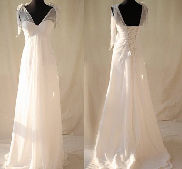 Simple A-line V-neck Backless Lace Up Chiffon Sweep Length Train Wedding Dress - Solodresses