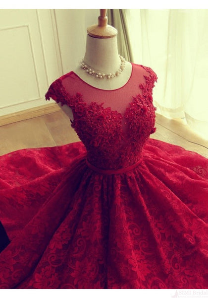 Adorable Knee-length Red Short Lace Prom Dress Homecoming Dress - Solodresses