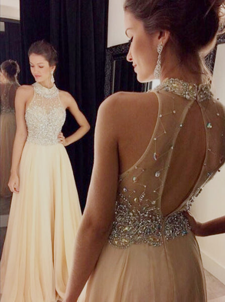 Sexy A-Line Prom Dress,High Neck Chiffon Prom Dress,Floor-Length Prom/Evening Dress with Beaded,111043039 - Solodresses