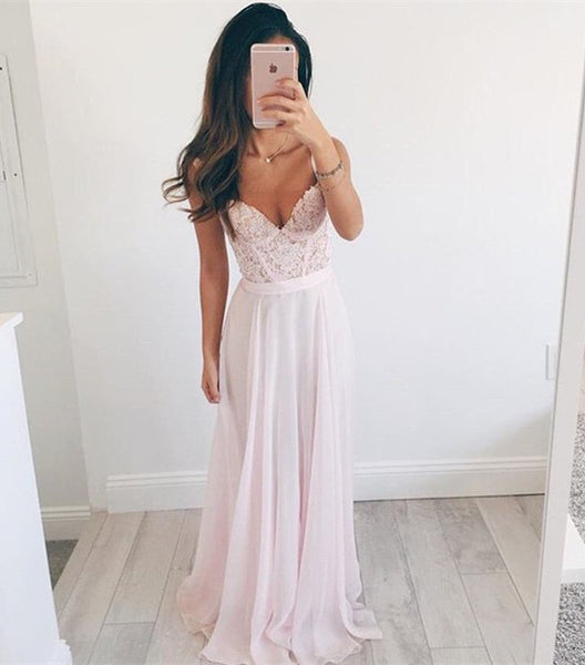 Prom Dresses,Pink Long Prom Dress,Elegant A-line Prom Dress,V-neck Long Chiffon Evening Dress - Solodresses