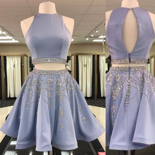 2 Pieces Satin Homecoming Dresses, Rhinestone Beaded Homecoming Dresses, Homecoming Dresses - Solodresses