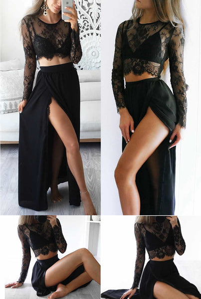 Black Long Sleeves Prom Dress,Sexy Slit Prom Dress,Two-piece Party Dress ,Cheap Prom Dress,A-line Prom Dresses , Prom Dresses,Long Prom Dress,Evening Dress , Party Prom Dress,PD0056 - Solodresses