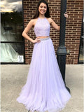 2 Pieces Lace Tulle Prom Dresses, Beaded Prom Dresses, Lilac Prom Dresses, Prom Dresses - Solodresses