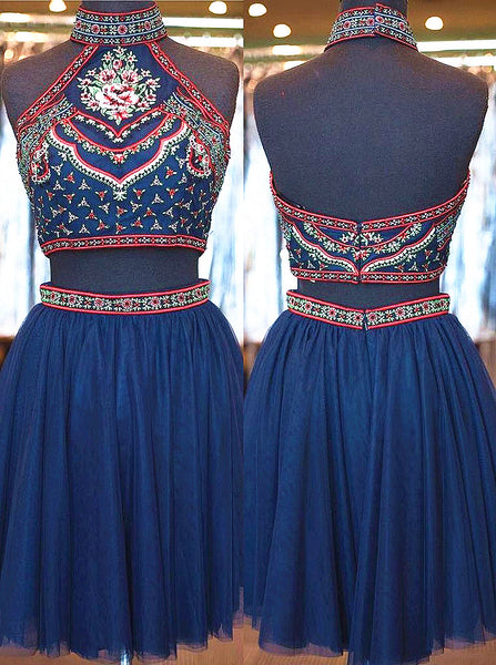 2 Pieces High Neck Embroidery Navy Tulle Homecoming Dresses Short Prom Dresses,Hot 27 - Solodresses