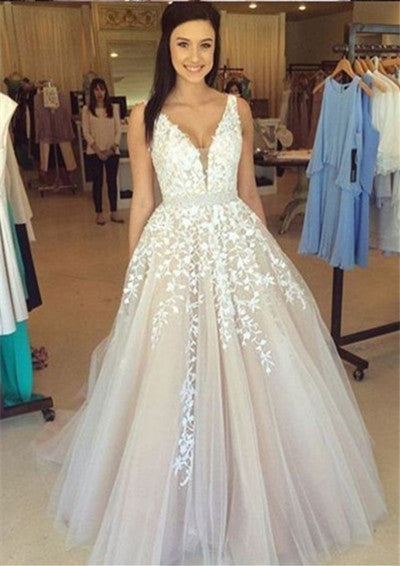 V Neck Prom Dresses,Lace Prom Dress,Sexy Prom Dress,Formal Dress,Evening Dress,Ball Gown Prom Dresses,Tulle Wedding Dress - Solodresses