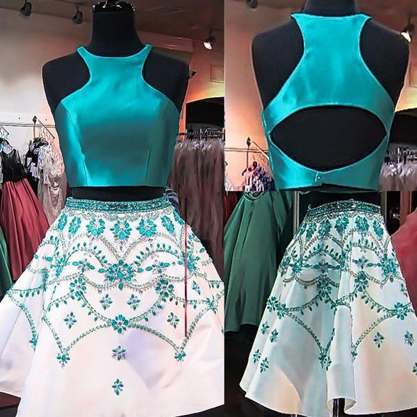 2 Pieces Green Satin top Rhinestone Open Back Homecoming Dresses - Solodresses