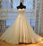 Slim A-line Strapless Sweetheart Neck Lace Appliqued Chapel Trian Bridal Wedding Gown - Solodresses