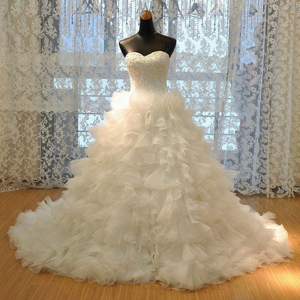 Luxury Strapless Sweetheart Neck Lace up Ruffle Cathedral Train Tulle Bridal Dresses,Wedding Ball Gown - Solodresses