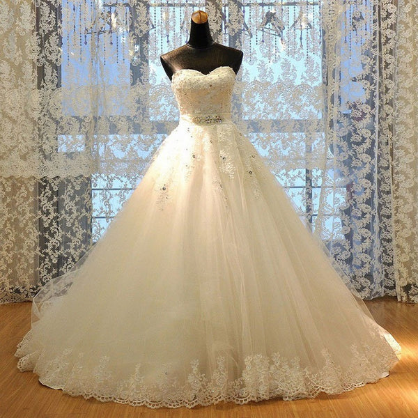 Luxury A-line Strapless Sweetheart Neck Rhinestone Beaded Lace Appliqued Ivory Tulle Chapel Train Wedding Dress - Solodresses